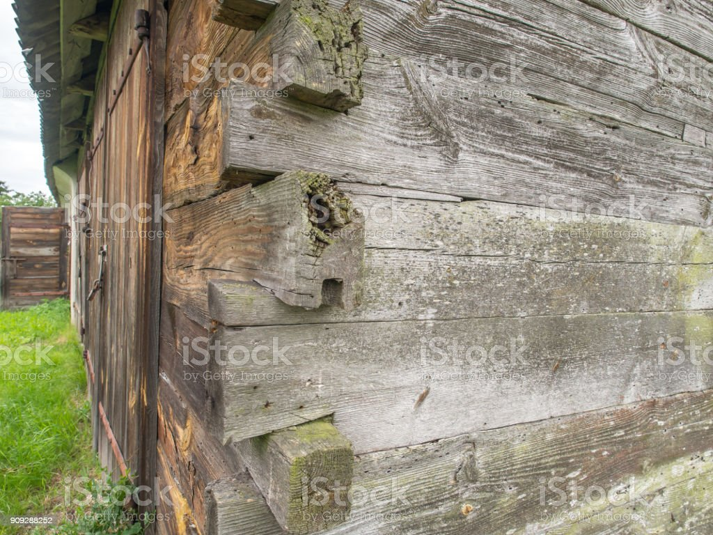 wooden log walls in Podlasie stock photo