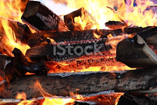 istock wooden logs burn with a bright flame in the fire 905591166