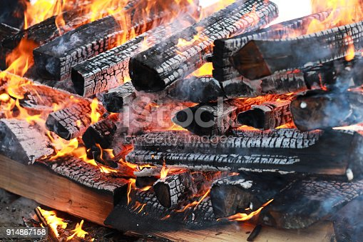 istock wooden logs burn with a bright flame in the fire 914867158