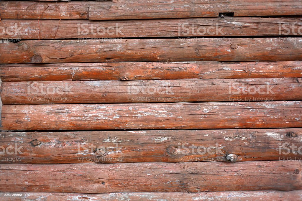 Wooden logs wall of rural house background royalty-free stock photo