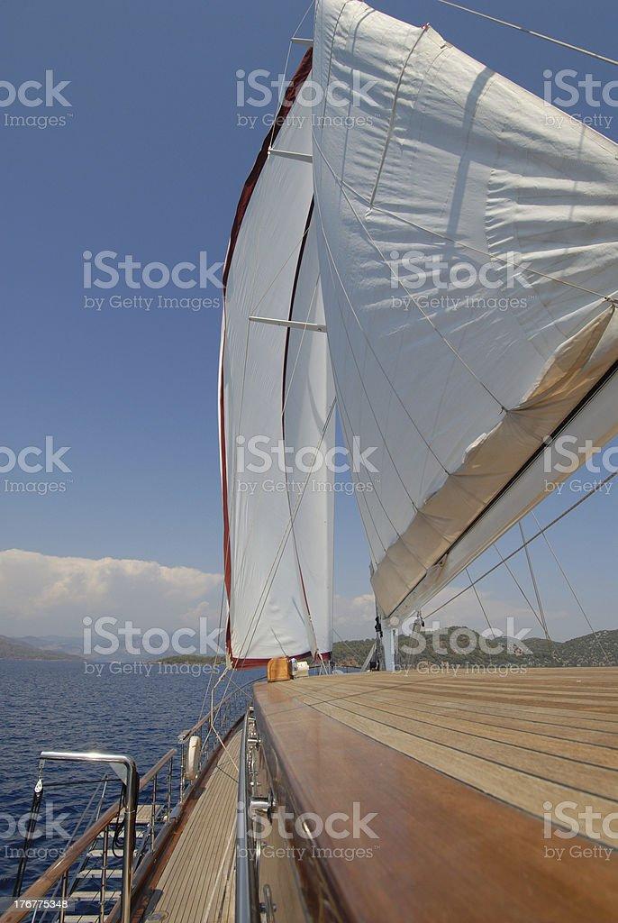 wooden luxury sailboat royalty-free stock photo