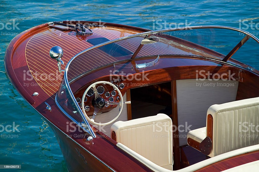 Wooden Luxury Tender at Monaco stock photo