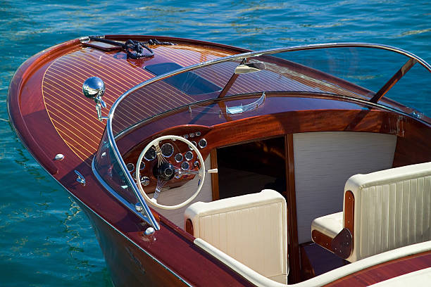 wooden luxury tender at monaco - vintage nautical stock photos and pictures