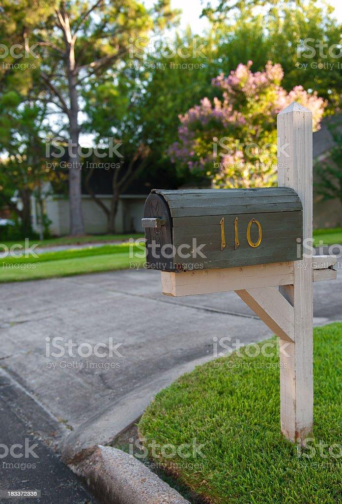 Wooden Mailbox stock photo