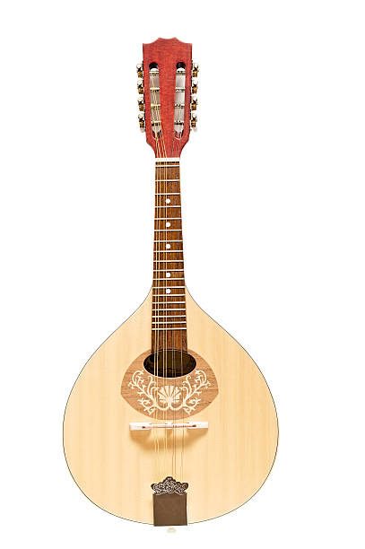 Wooden Mandolin Isolated on White - foto de acervo