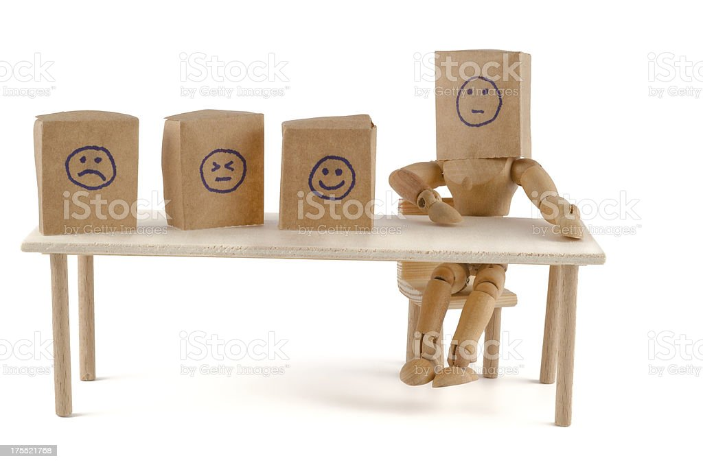 wooden mannequin and hidden emotions stock photo