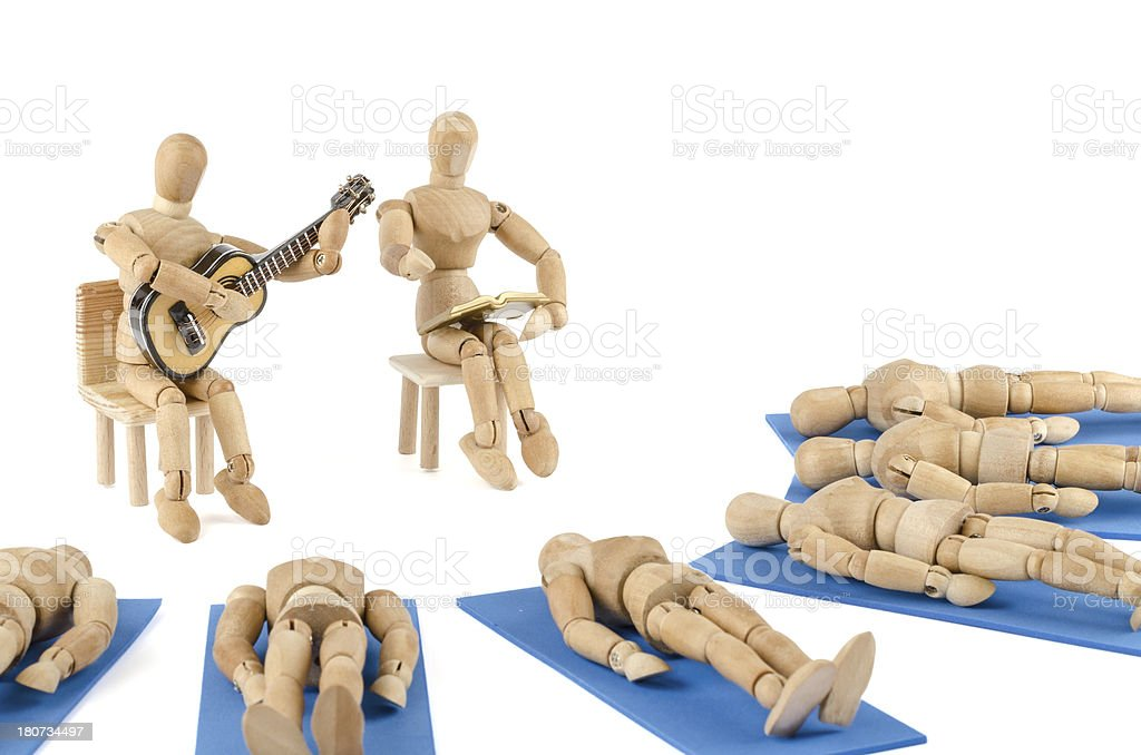 wooden mannequin and meditation in a group stock photo