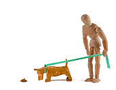 Wooden mannequin and sniffing dog - dog education?  training?