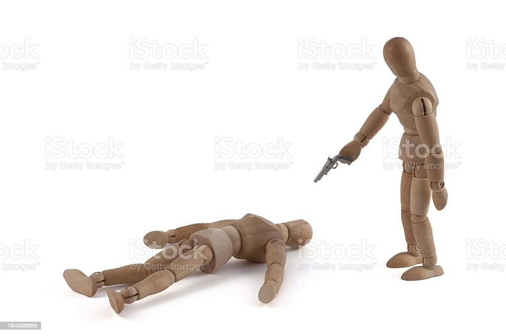 Wooden mannequin and violence - murder stock photo