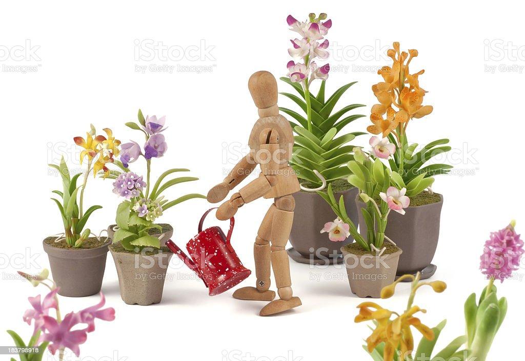 wooden mannequin cultivates his garden stock photo
