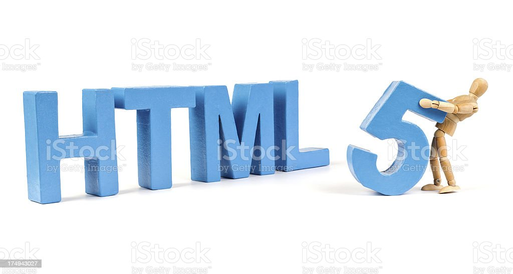 HTML 5 - Wooden Mannequin demonstrating this word stock photo