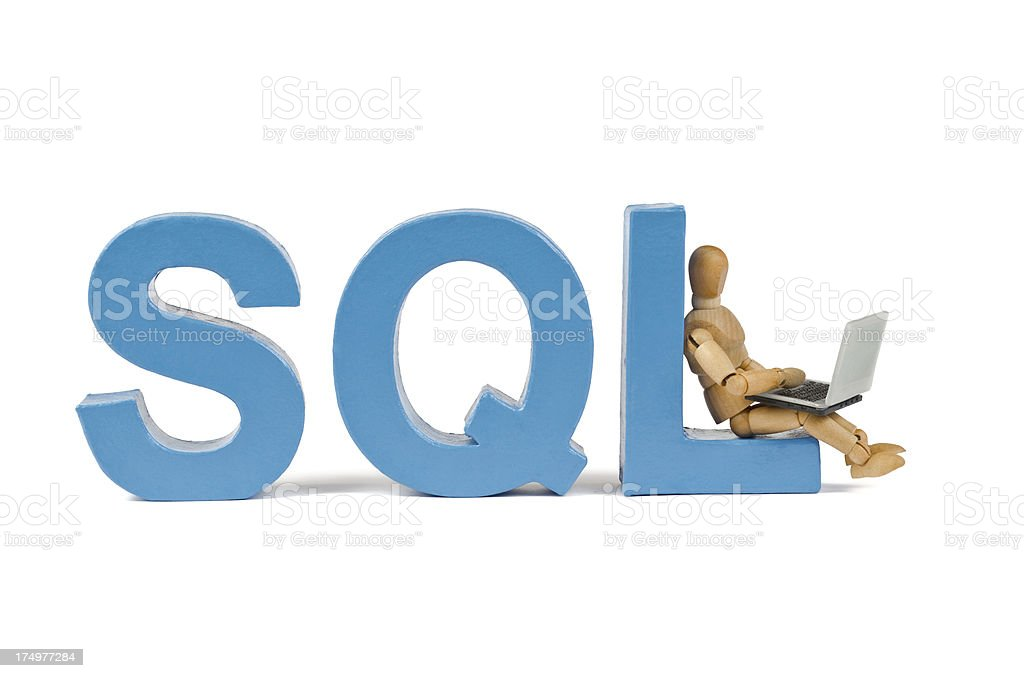 SQL - Wooden Mannequin demonstrating this word stock photo