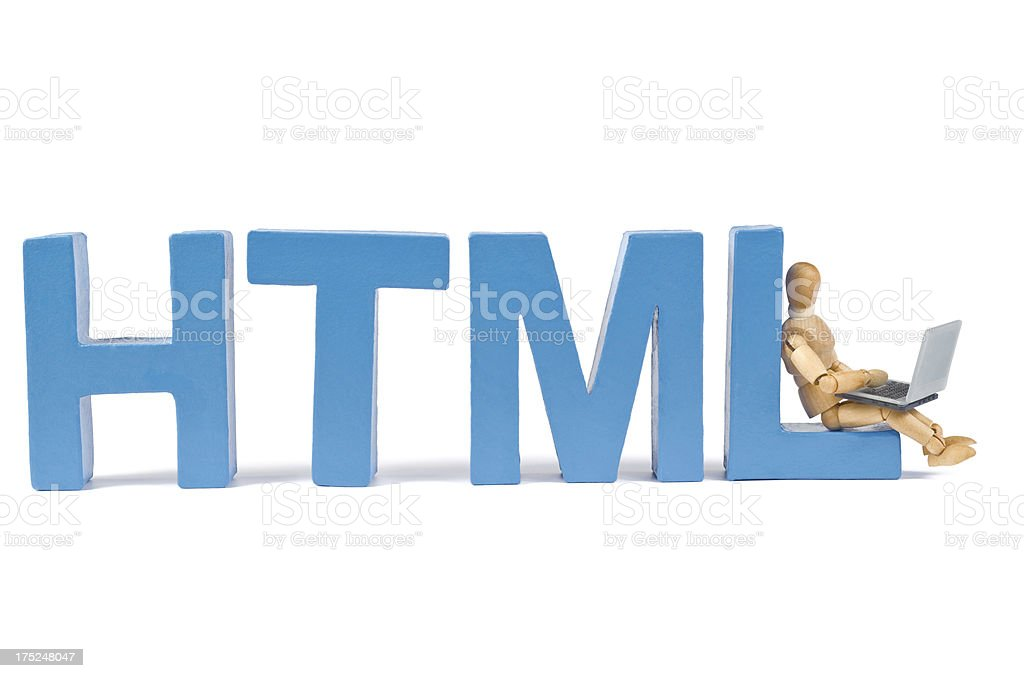 HTML - Wooden Mannequin demonstrating this word stock photo
