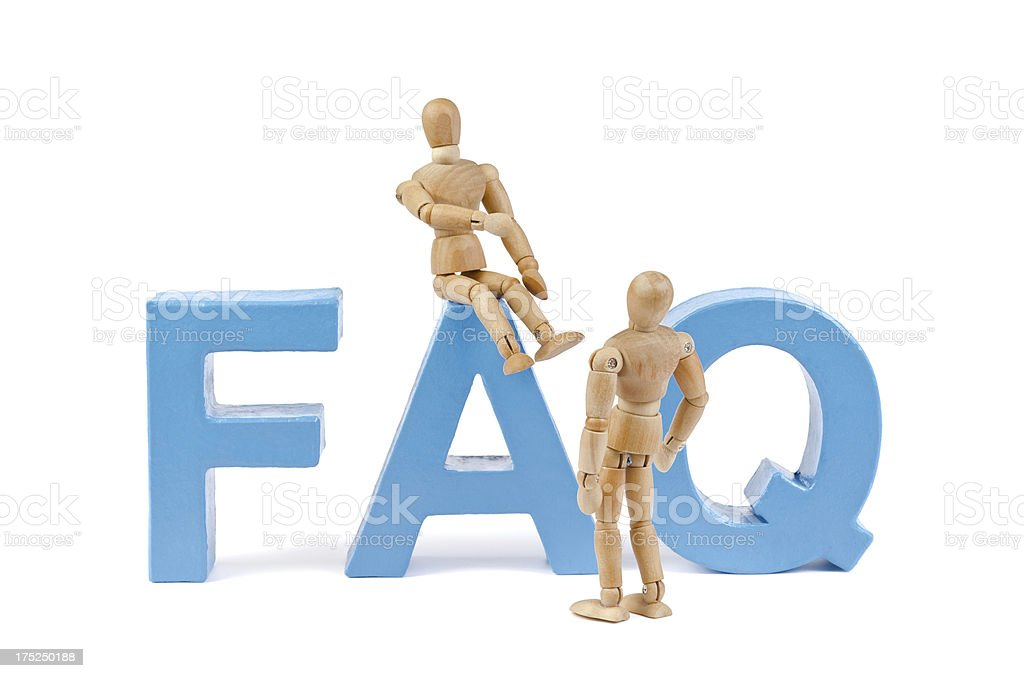FAQ - Wooden Mannequin demonstrating this word stock photo