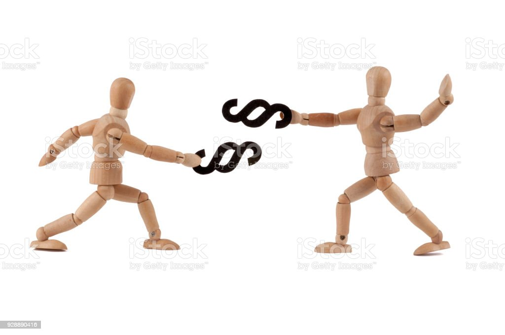 Wooden mannequin fighting with law - lawyer? - foto stock
