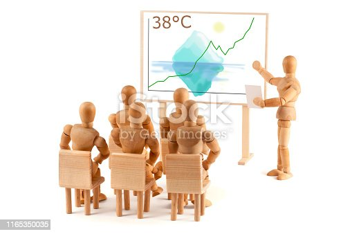 Wooden mannequin get a training on Global Warming