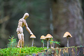 Wooden mannequin founds mushrooms in the forest
