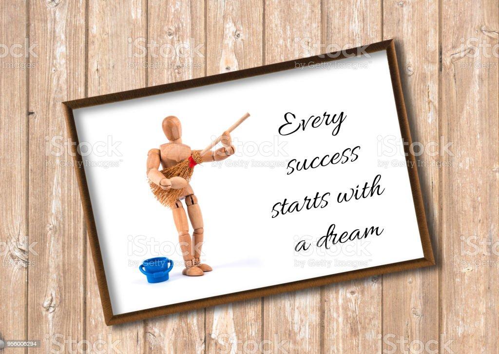 Hölzerne Puppe Motivierende Zitate Beginnt Viel Erfolg Mit