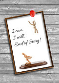 wooden mannequin motivating quotes - I can, I will, End of story