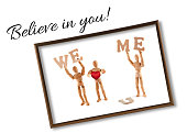 wooden mannequin motivational ideas with text - Believe in you! holding this word