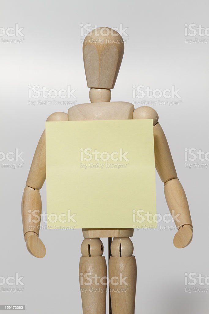 wooden mannequin & post-it stock photo