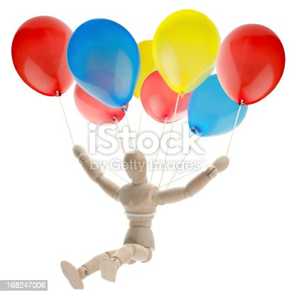wooden mannequin makes a precision landing with ballons as paragliding, parachute, flying like a bird, freedom... be creative too :)