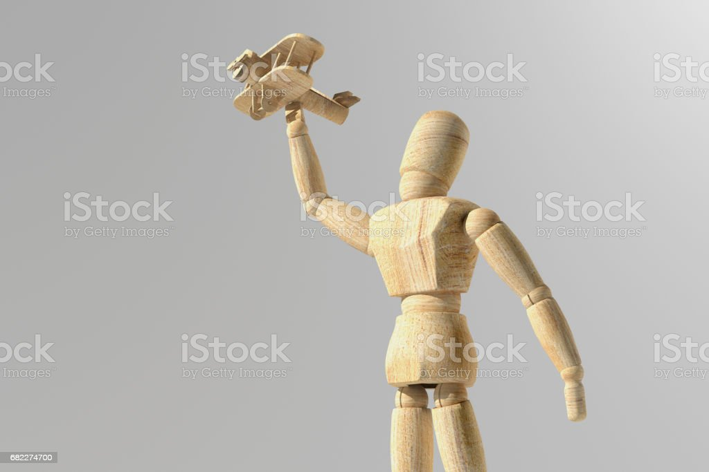 Wooden mannequin prototype of human vector art illustration