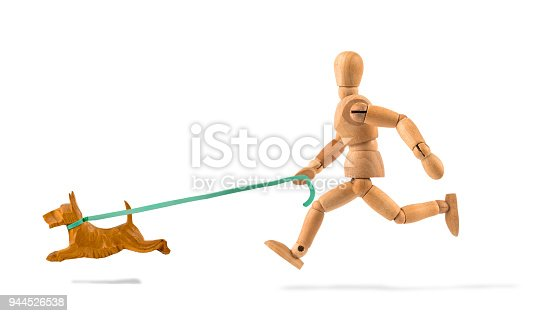 Wooden mannequin running with dog - for sport?
