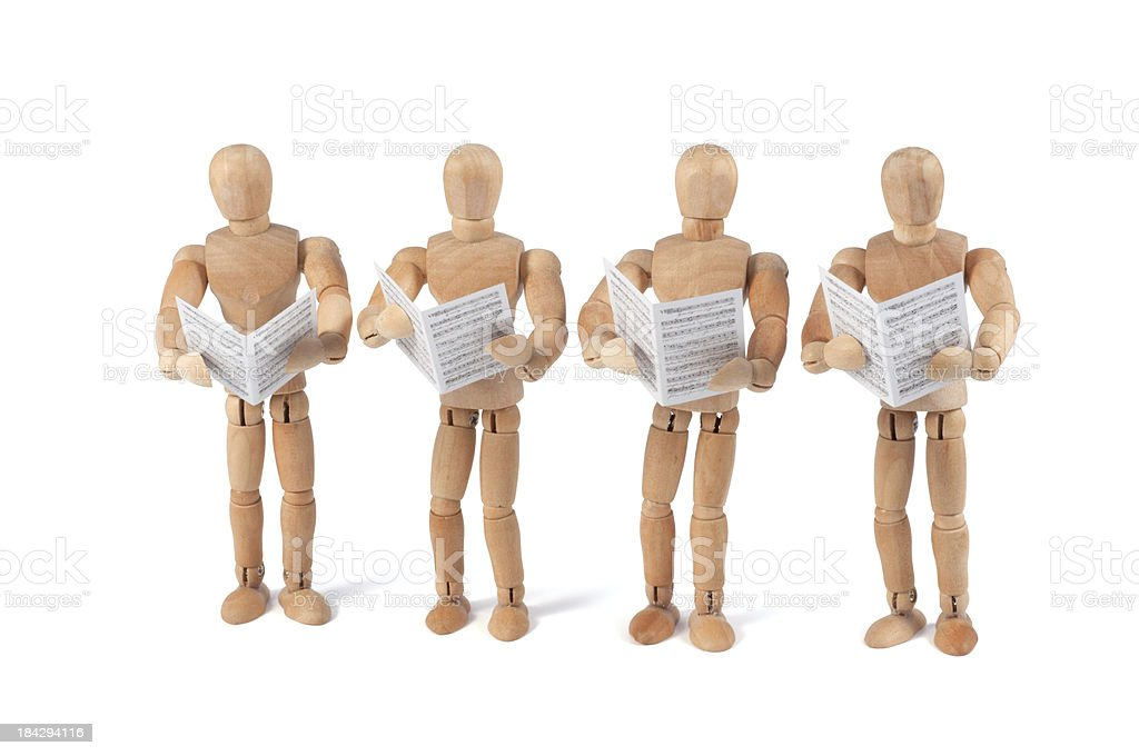 wooden mannequin singing with sheet music stock photo more