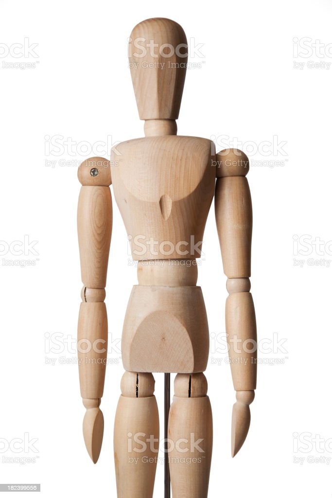 Wooden Mannequin Standing Tight royalty-free stock photo
