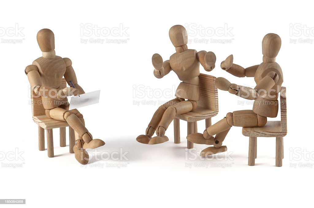 wooden mannequin talking - no its not correct royalty-free stock photo