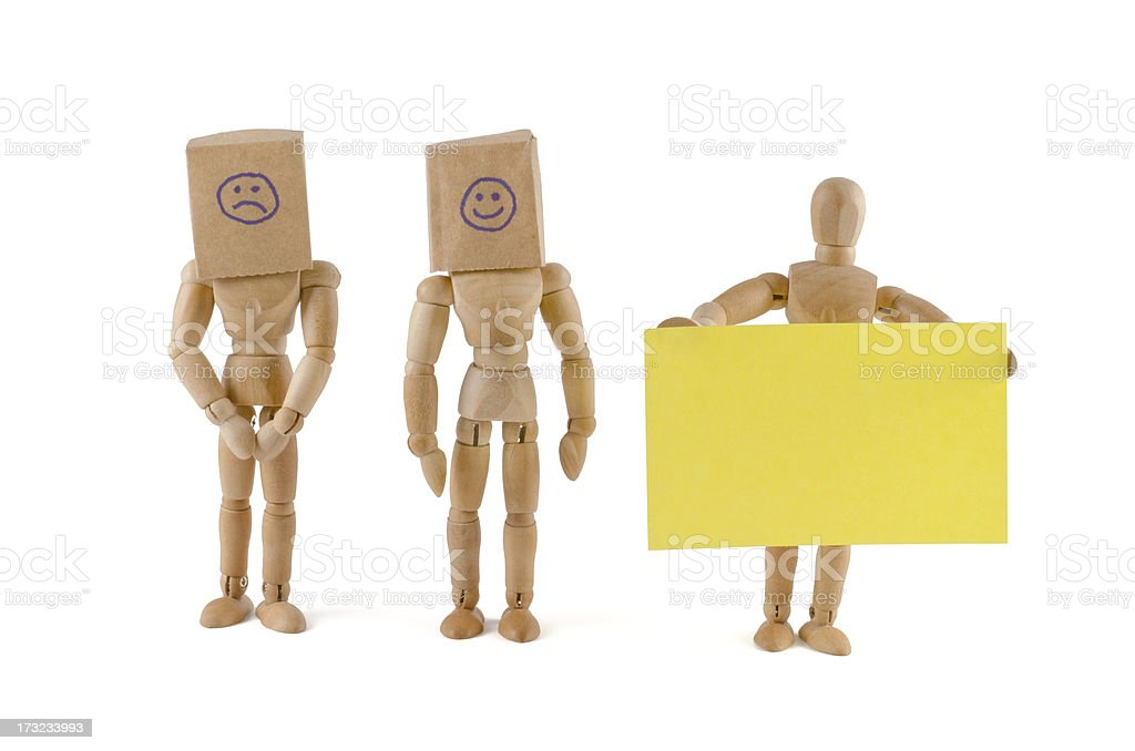 wooden mannequin team and hidden emotions stock photo