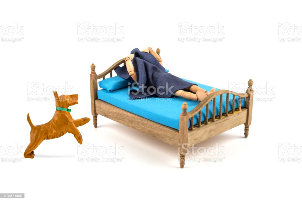 Wooden Mannequin Wakes Up In The Morning Of Barking Dog He Wants To Go Out