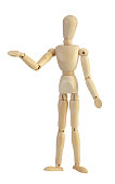wooden doll mannequin on white background