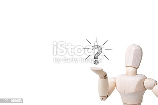 1048039800 istock photo wooden mannequin with doubtful gesture on white background - confusion and asking question concept 1204155653