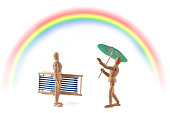 Wooden mannequin with weather problems - rainbow - rain or sunshine?