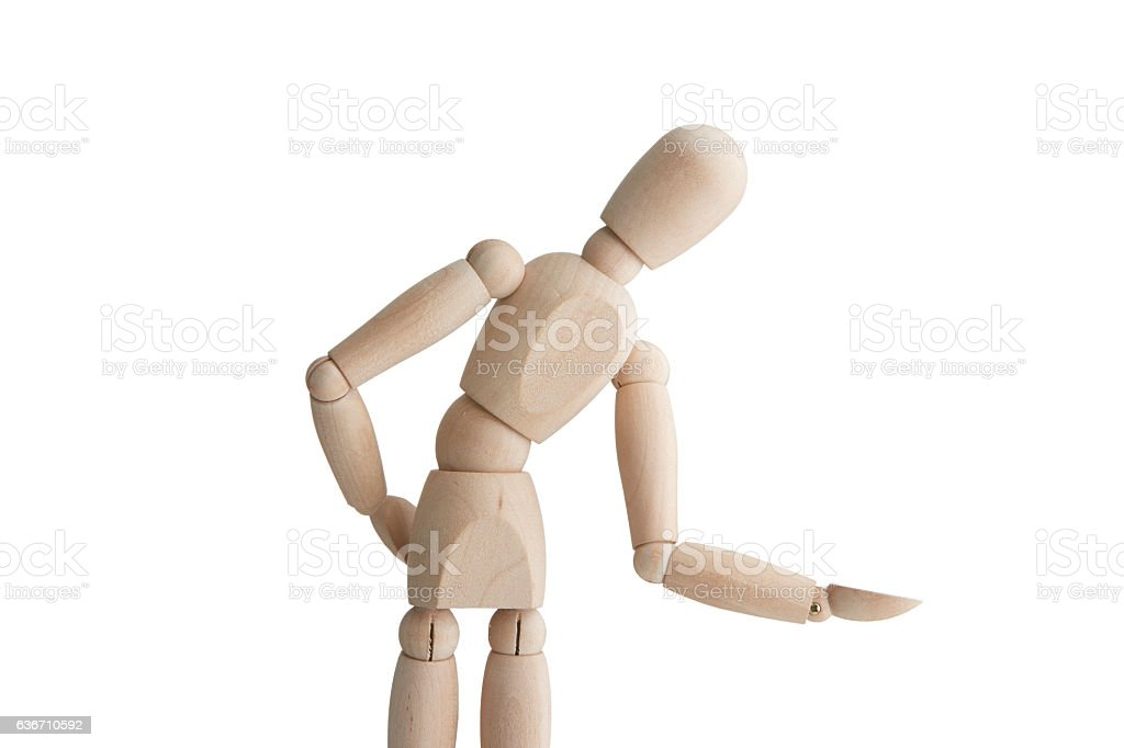Wooden mannequin with welcome pose stock photo