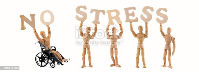 941792734istockphoto Wooden mannequin with wheelchair - holding the word - no stress 953801106