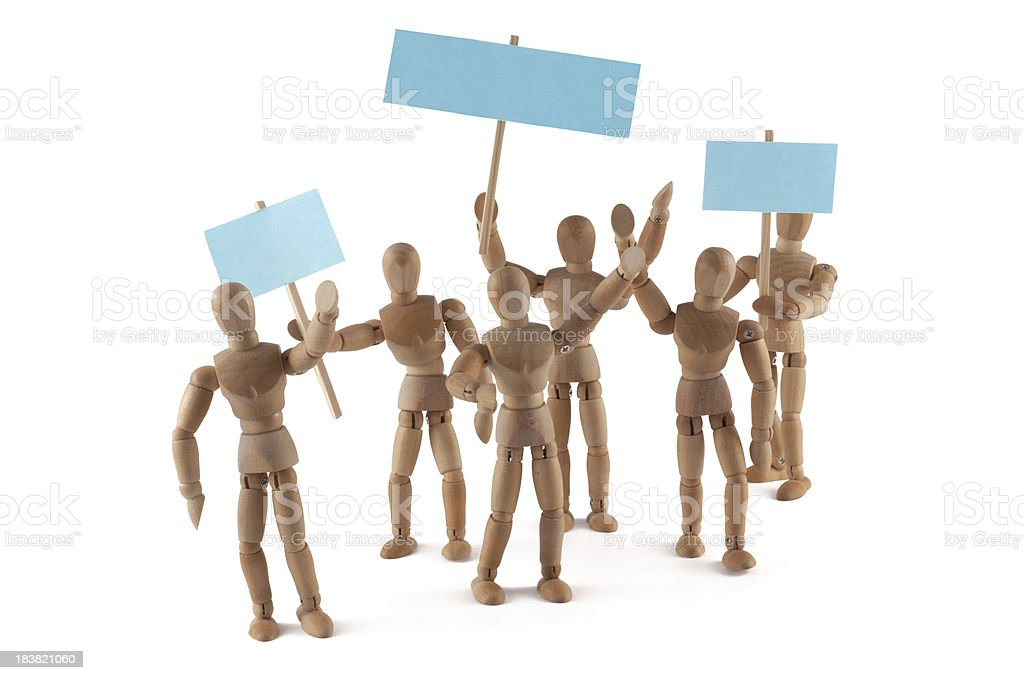 wooden mannequins demonstrating stock photo