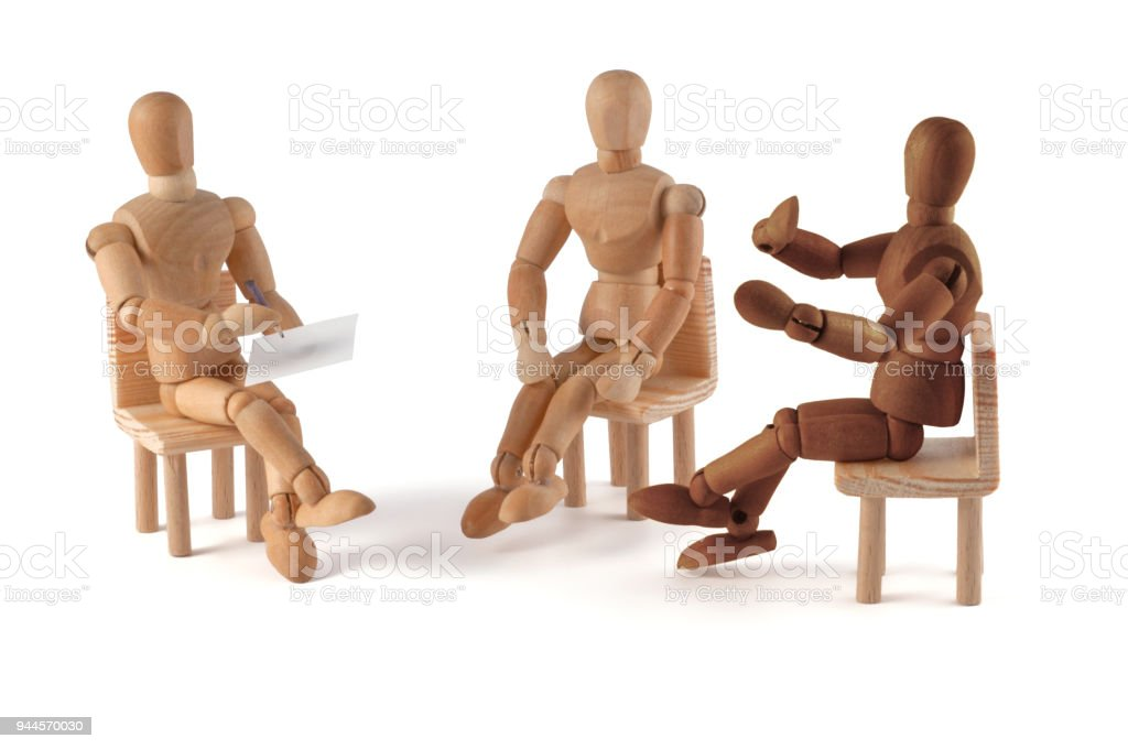Wooden mannequins stock photo