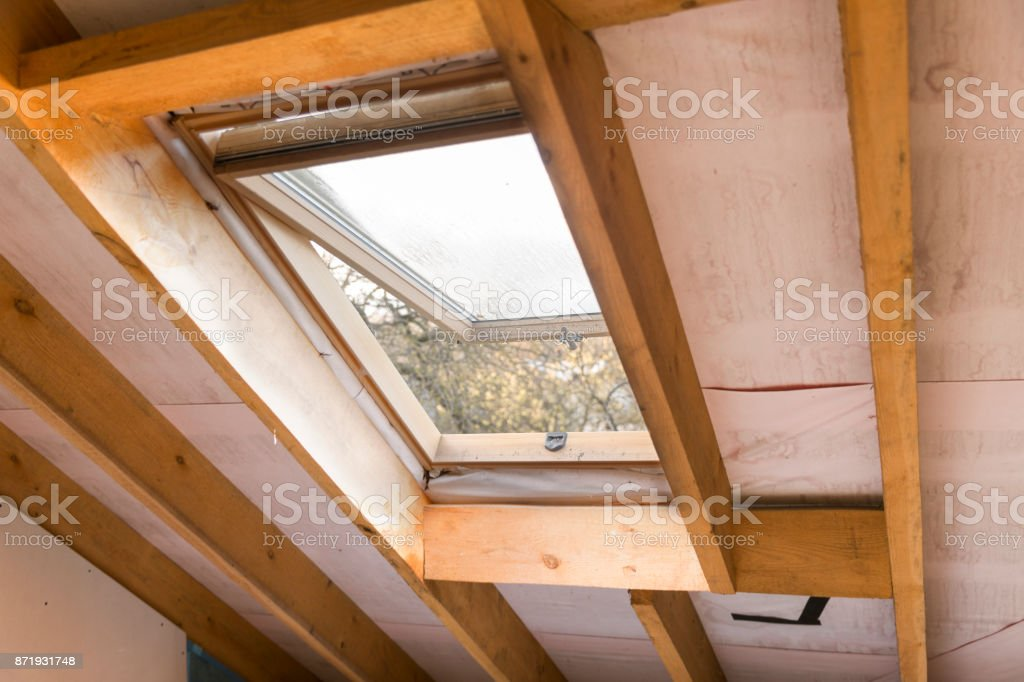 Wooden Mansard Or Skylight Window On Attic Attic Renovation And
