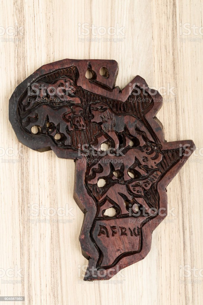 wooden map of continent africa stock photo