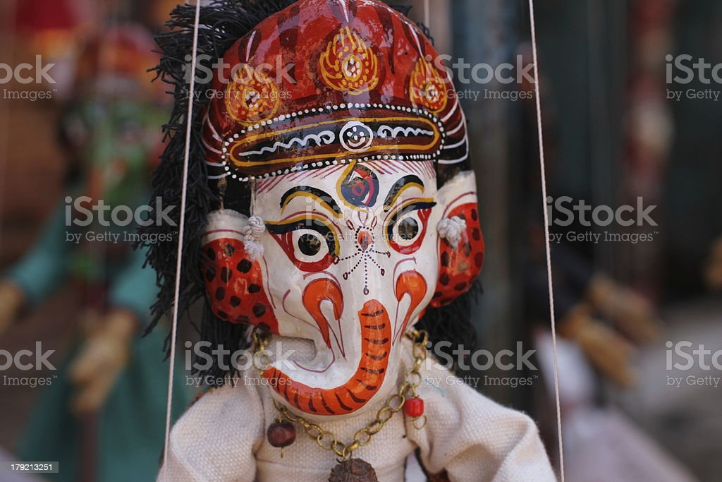 Wooden marionette Ganesha doll. royalty-free stock photo