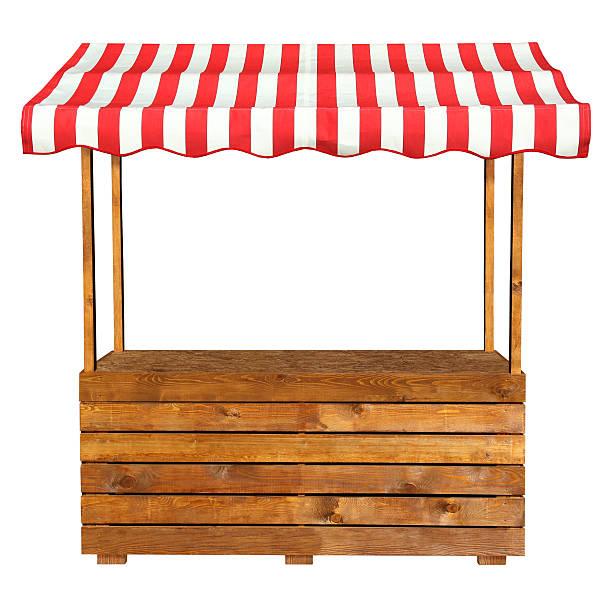 bancarella del mercato in legno con tenda a strisce bianche rosse - bancarella foto e immagini stock
