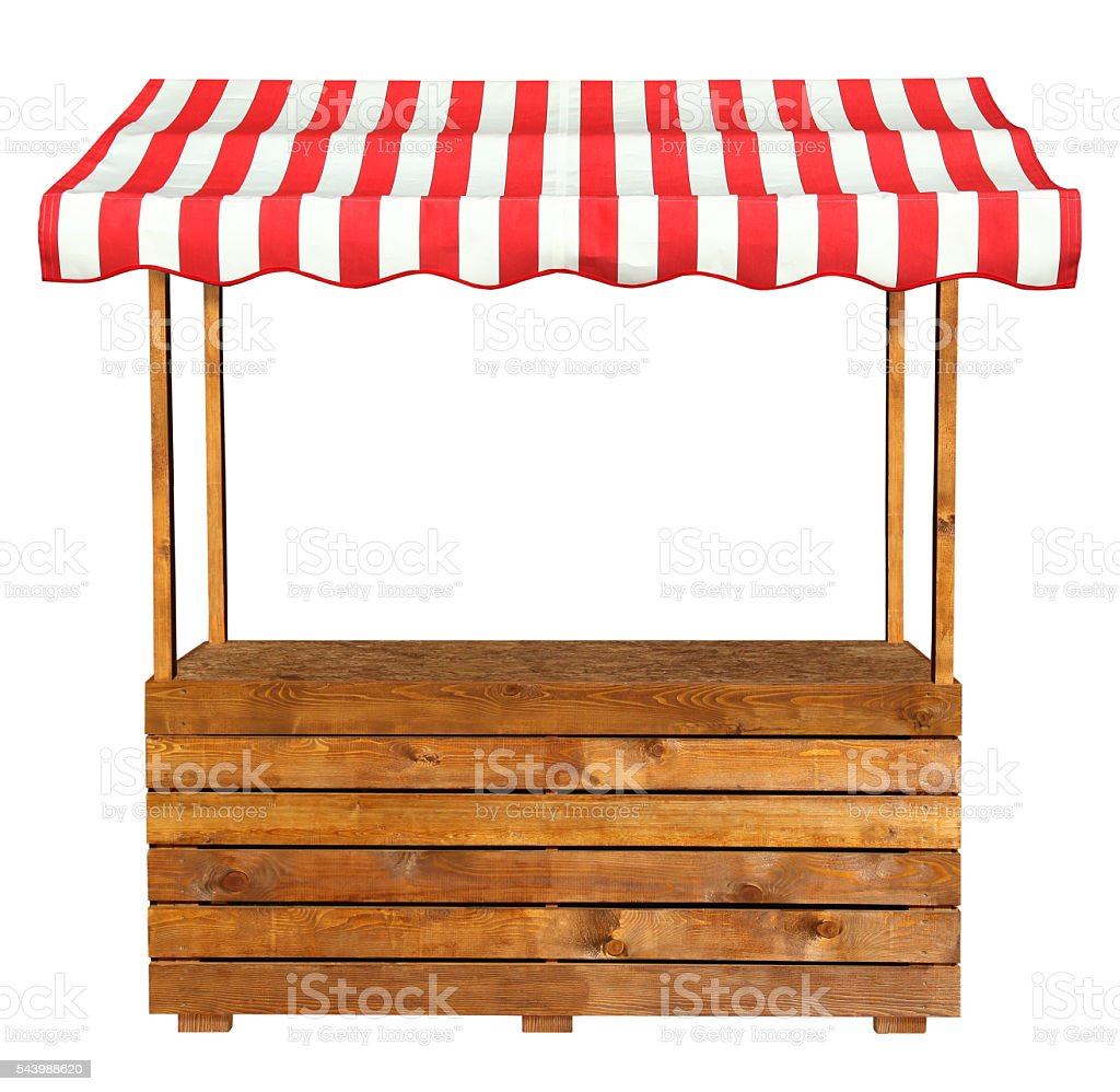 Wooden market stand stall with red white striped awning stock photo