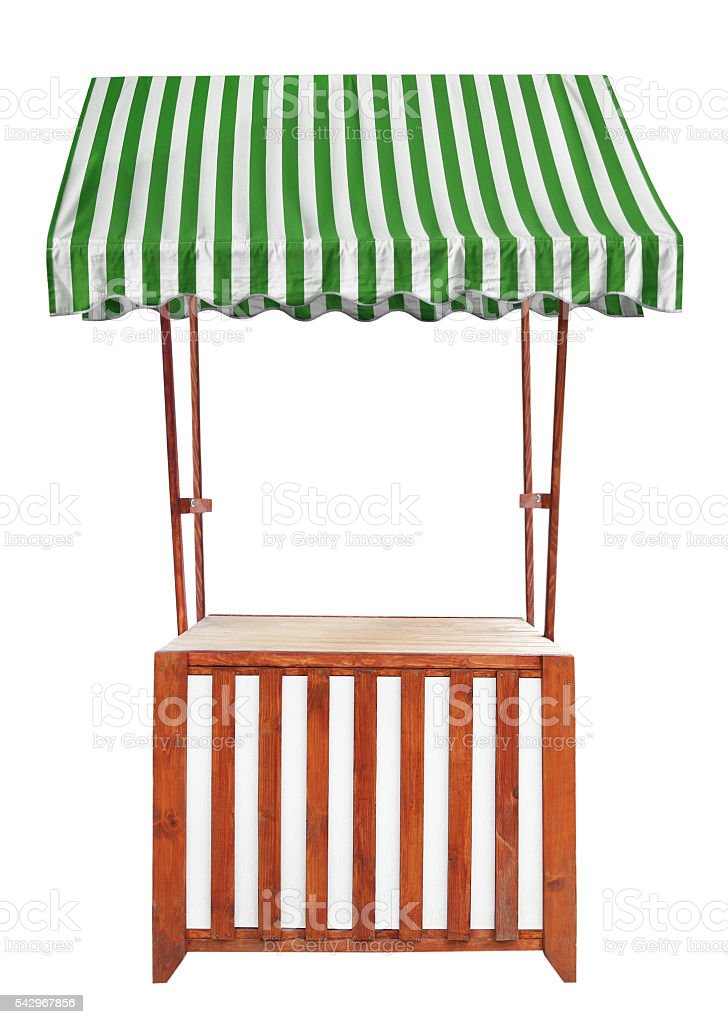 Wooden market stand stall with striped awning stock photo