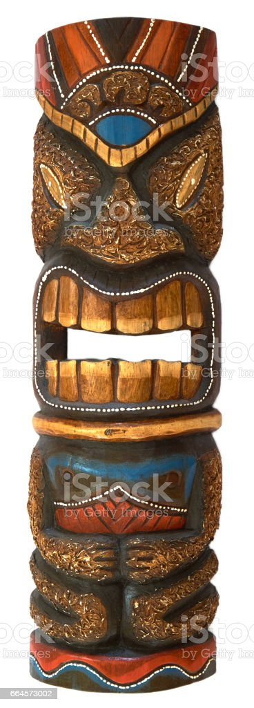wooden mask for home decoration - voodoo mask stock photo