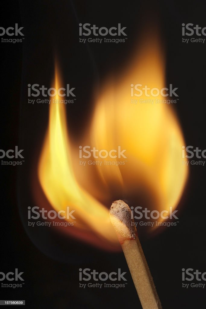 wooden matchstick igniting into flame stock photo