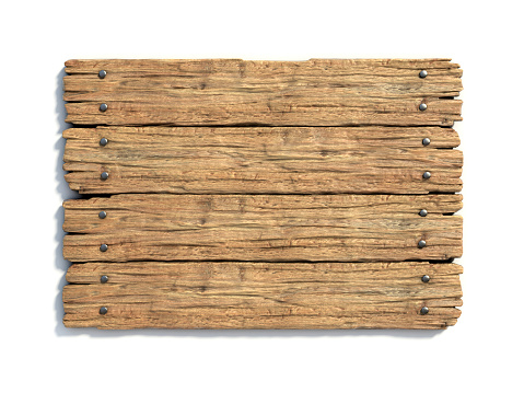 Wooden medieval sign board  isolated on white 3d rendering
