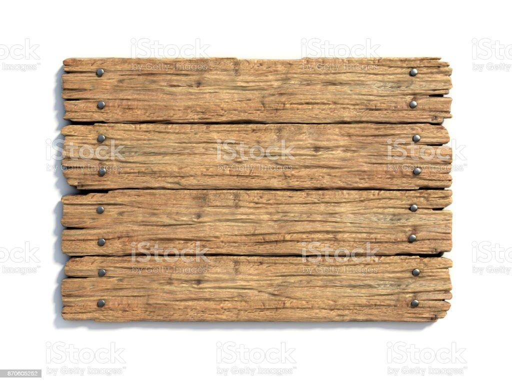 Placa de madeira medieval sinal isolada no branco renderização em 3d - foto de acervo